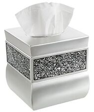 Square Tissue Box Cover, Decorative Holder Finished Beautiful Silver Mosaic