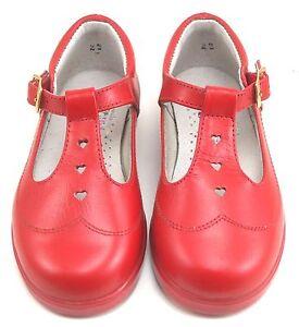 DE OSU - Girls Red Leather Heart T-Strap Dress-School Shoes -European 23 size 7