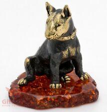 Solid Brass Amber Figurine of Bull Terrier Dog IronWork