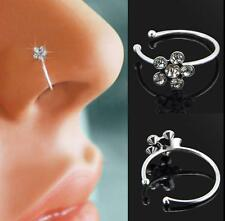 Small Cute Flower Clear Crystal Nose Ring Stud Hoop-Sparkly Crystal Nose Ring F
