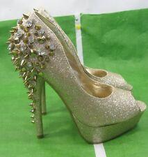 """new Gold Glitter Spike 5.5""""Stiletto Heel Open Toe Sexy Shoes  US WOMEN Size 5"""