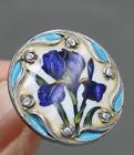 Antique Sterling Silver Iris Floral Art Nouveau Enamel 1 Button Lot/3
