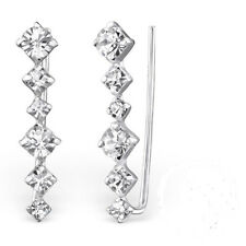 925 Sterling Silver Crystal Diamond Ear Cuffs Pins - Boxed