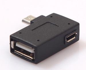 2-in-1 Betrieben Micro USB OTG Adapter 90 Grad Rechts Links Winkel Laden Port