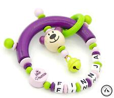 ♥ Greifling/Greifring mit Namen ★ Kleine Prinzessin/Teddy in lila/hellgrün/rosa