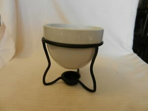 White Ceramic Butter Warmer or Potpourri Warmer With Black Metal Stand