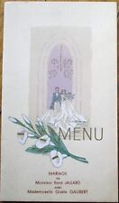 Menu: French 1947 Wedding w/Color Cover - Pommes Soufflees, Langouste Mayonnaise