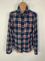 WOMENS HOLLISTER SIZE SMALL BLUE CHECK LONG SLEEVE CREW NECK SHIRT BLOUSE TOP