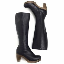 Coclico Sz 37 Nell Tall Clog Boot Black Leather Wood Clog Heel 6.5-7 US $635