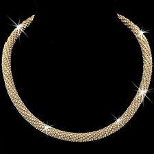 Micro Pave Set Cz Crystal Rope Mesh Chain BLING Tennis Necklace Gold Gp SPARKLES