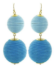 Double Threaded Ball Bon Bon Blue Dangle Drop Statement Earring