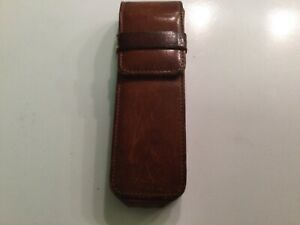 Vintage COACH 3 PEN/PENCIL CASE in Leather