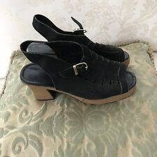 Vintage Black Suede Strappy Heels Open Toe Sandals Sz 5