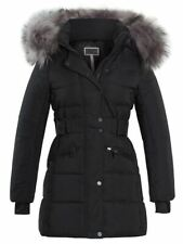 Womens Puffer Jacket Parka Faux Fur Coat Size 12 8 10 14 16 Black Pink Grey