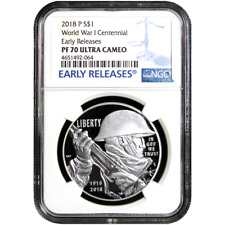 Prueba de 2018-P $1 I Guerra Mundial Centenario Dólar De Plata Ngc PF70UC Azul er Etiqueta