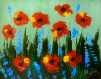 POPPIES   MODERN ABSTRACT ORIGINAL OIL PAINTING  TEXTU RED CANVAS D5634T