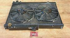 NISSAN SKYLINE R33 R34 GTR JAPSPEED ALLOY BLACK RADIATOR & TWIN MISHIMOTO FANS