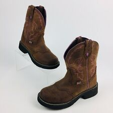 Justin Gypsy Boots Womens 6.5 Brown Pink Leather Ankle Cowboy Cowgirl Western