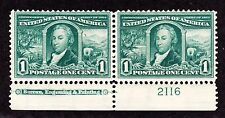 US 323 1c Louisiana Purchase Mint Bottom MI Plate Pair #2116 F-VF OG NH SCV $170