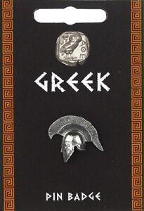 Greek Helmet Silver Pewter Pin Badge