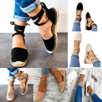 Women's Flat Low Wedge Heels Espadrilles Summer Ladies Sandals Ankle Strap Shoes