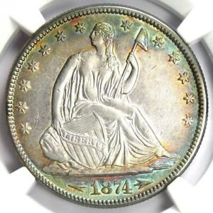 1874 Arrows Seated Liberty Half Dollar 50C Rainbow Tone Coin -  NGC AU Details!