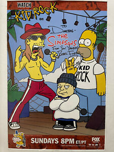 Simpsons Kid Rock Poster autographed to Dimebag Darrell of Pantera