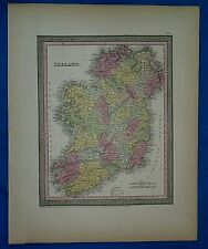 1854 Mitchell's New Universal Atlas Map ~ IRELAND ~ Authentic T. Cowperthwait