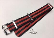 Genuine Omega 20mm Wide Black & Red Striped NATO Strap, Ref - ZSZ002042, Used