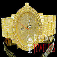 Mens Khronos Joe Rodeo Techno Bling Master Yellow Canary Simulated Diamond Watch