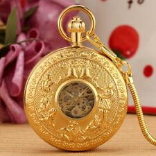 Luxury Yellow Gold Copper Auto Mechanical Pocket Watches for Men Pendant Chain