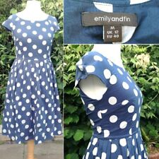 Emily and Fin Steel Blue Large Dot/Spot Summer Tea Dress 12 Vintage/Retro Style