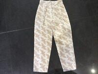 Alice by Temperley New & Gen. Ladies UK Size 8 Cream Bird Print Cotton Trousers