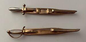 Vintage Men's Swank Tie Lapel Bar Clip Clasp (2) Swords
