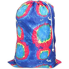 JUMBO Nylon Laundry Bag TIE-DYE BLUE Heavy Duty College Dorms Laundromat