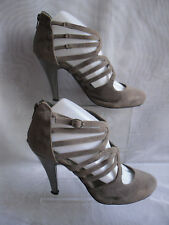 WOMENS FIONA COLLECTION BROWN ZIP TEXTILE HIGH HEELS COURT SHOES SZ:6/39(WHS306)