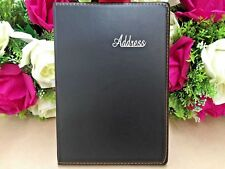 Black Leather Grain Address Book Phone E-mail Office Telephone 120 pages NEW L