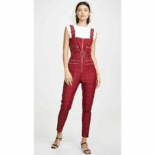 NEW WeWoreWhat Plaid Moto Overalls/Jumpsuit Pompeian Red SLIM FIT HOLIDAY $225