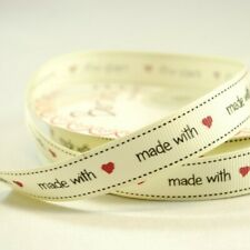25 Metres 16mm Bertie's Bows Made With Love Grosgrain Heart Craft Ribbon