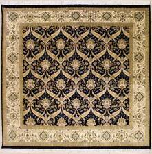 Rugstc 7x7 Senneh Pak Persian Blue Area Rug, Hand-Knotted,Floral with Silk/Wool