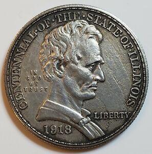 1918 Illinois Lincoln Commemorative Silver Half Dollar w/ AU Details