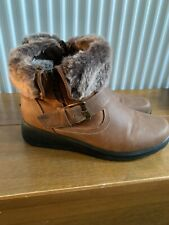 Ladies Brown Ankle Boots Faux Fur Low Wedge Heel Soft Size UK 6
