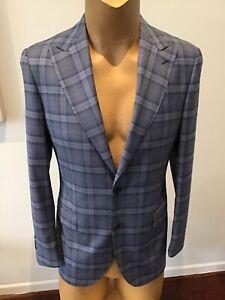 New Mens M J BALE Blue Check Suit Size 40 Drop 8 Fit Slim Fit BNWTAGS ..