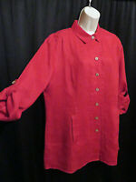 Soft Surroundings Red A-Line Tunic Top 100% Linen Roll Tab Sleeves Size L Large