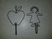 2 Vintage Country Decor Wire Kitchen Hooks Apple & Girl / Doll Holders Farm Wall