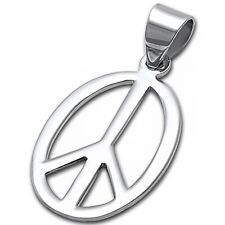 Oval Shape Peace Sign .925 Sterling Silver Pendant