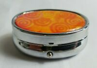 Vintage Silver Orange Circles Swirl Oval 2 Slot Container LTE Pill Holder