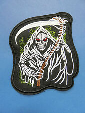 "LARGE Goth 4.5"" by 3.5"" GRIM REAPER / DAY OF THE DEAD applique IRON ON PATCH"