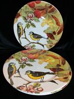 Royal Stafford Decoupage 3 Dinner Plates Birds, Flowers, Leaves Made is England