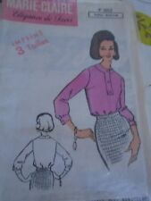 """ANCIEN PATRON  MARIE CLAIRE   """"BLOUSE COL ROND  """" ANNEE  1960 TAILLE 40/44/48"""